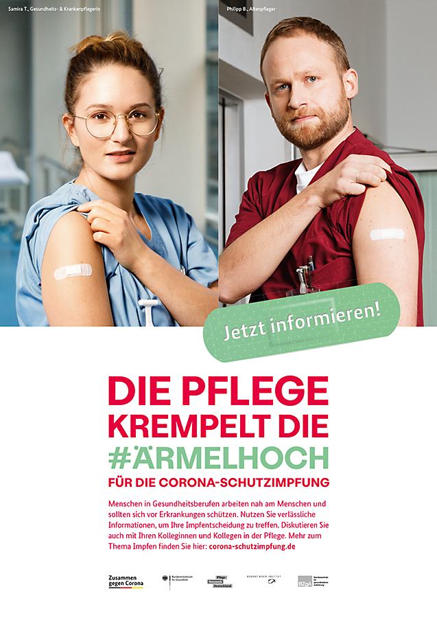 Plakat: Die Pflege krempelt die Ärmel hoch